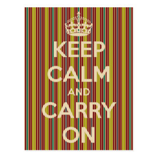 Keep Calm and Carry On Vintage Stripe Postcard