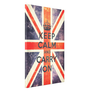 keep calm and carry on vintage Union Jack flag Gallery Wrap Canvas