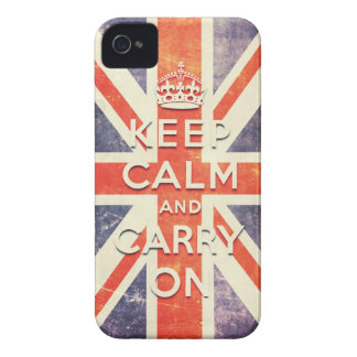 keep calm and carry on vintage Union Jack flag iPhone 4 Case-Mate Case