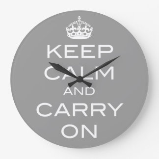 Keep Calm and Carry On Wall Clock - ANY COLOR
