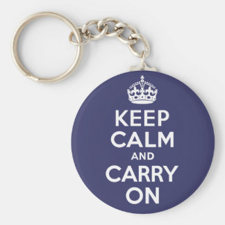 Keep Calm And Carry On. White. Best Price! Basic Round Button Key Ring