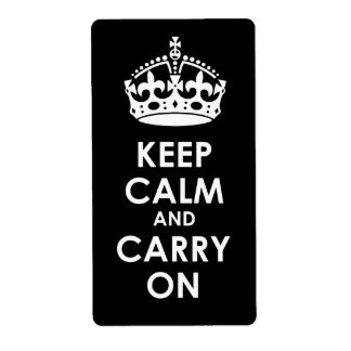 Keep Calm and Carry on White on Black Shipping Label