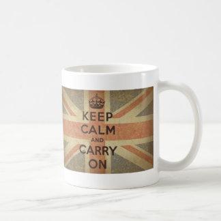Keep Calm and Carry On with UK  Flag Basic White Mug
