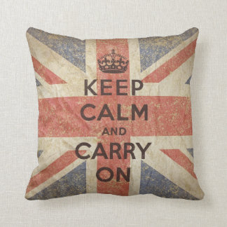 Keep Calm and Carry On with UK Flag Cushion