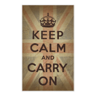 Keep Calm and Carry On with UK Flag Print