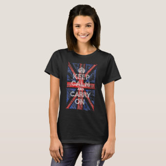 Keep Calm and Carry On with UK Flag, Sketchy Line T-Shirt