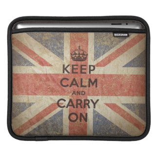 Keep Calm and Carry On with UK Flag. Sleeves For iPads