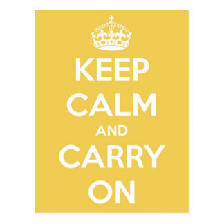 Keep Calm and Carry On Yellow Postcard