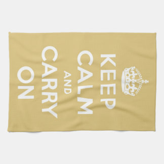 Keep Calm and Carry On Yellow Tea Towel