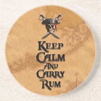 Keep Calm And Carry Rum Drink Coaster