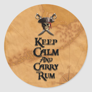 Keep Calm And Carry Rum Round Sticker