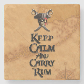 Keep Calm And Carry Rum Stone Beverage Coaster