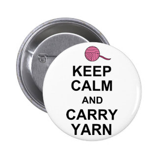 Keep Calm and Carry Yarn 6 Cm Round Badge