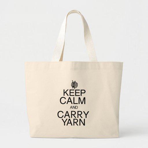 Keep Calm and Carry Yarn Canvas Bag