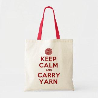 keep calm and carry yarn canvas bags