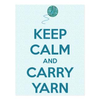 Keep Calm and Carry Yarn Card Postcard