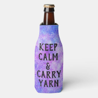 Keep Calm and Carry Yarn Purple Bottle Cooler