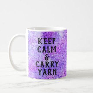 Keep Calm and Carry Yarn Purple Coffee Mug