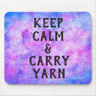 Keep Calm and Carry Yarn Purple Mouse Pad