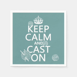 Keep Calm and Cast On - all colors Disposable Serviette