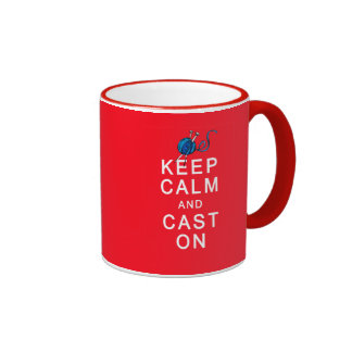 Keep Calm and Cast On Knitting Tshirt or Gift Coffee Mug