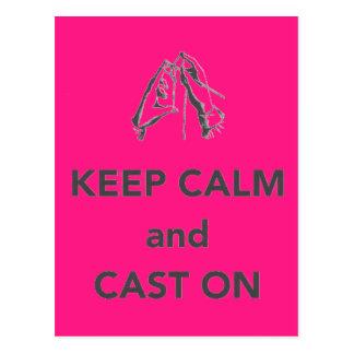 Keep Calm and Cast On Postcard