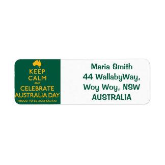 Keep Calm and Celebrate Australia Day! Return Address Label