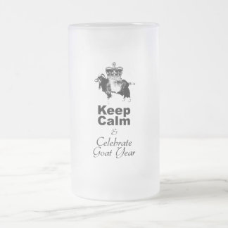 Keep Calm and Celebrate Goat year 2015 Frosted Glass Beer Mug