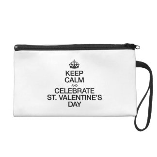 KEEP CALM AND CELEBRATE ST VALENTINES DAY WRISTLET CLUTCHES