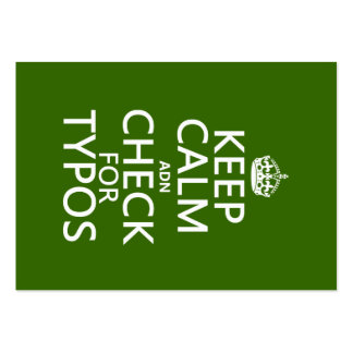 Keep Calm 'and' Check For Typos (in any color) Pack Of Chubby Business Cards