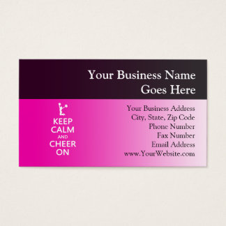 Keep Calm and Cheer On, Cheerleader Pink Business Card
