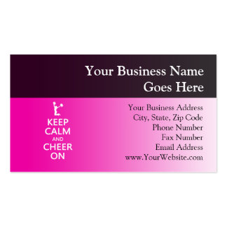 Keep Calm and Cheer On Cheerleader Pink Business Card Templates