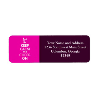 Keep Calm and Cheer On, Cheerleader Pink Return Address Label