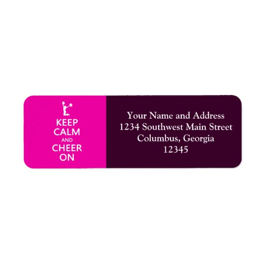 Keep Calm and Cheer On, Cheerleader Pink Return Address Label