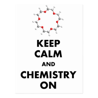 Keep Calm and Chemistry On Post Cards