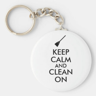 Keep Calm and Clean On Broom Custom Basic Round Button Key Ring