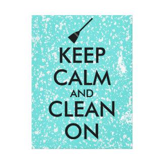 Keep Calm and Clean On Broom Custom Gallery Wrap Canvas