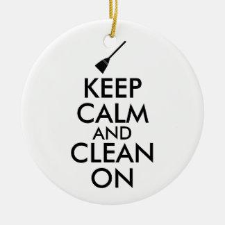 Keep Calm and Clean On Broom Custom Ceramic Ornament