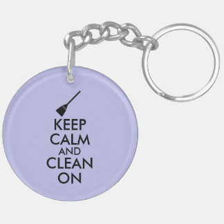 Keep Calm and Clean On Broom Custom Double-Sided Round Acrylic Key Ring