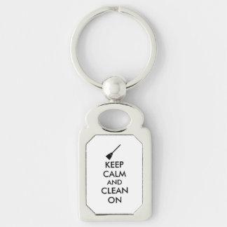 Keep Calm and Clean On Broom Custom Key Chain