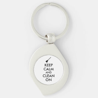 Keep Calm and Clean On Broom Custom Silver-Colored Swirl Key Ring