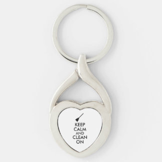 Keep Calm and Clean On Broom Custom Silver-Colored Twisted Heart Key Ring