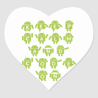Keep Calm And Code On Software Developer Bugdroid Heart Sticker