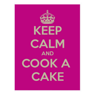 keep calm and cook a cake postcard