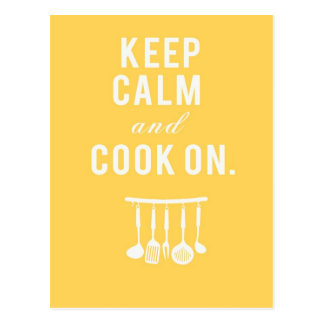 Keep Calm and Cook On Postcard