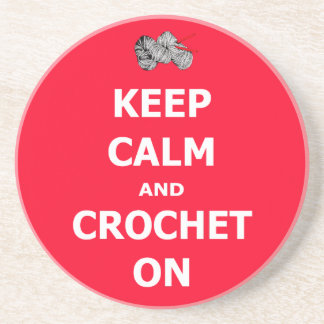 Keep calm and crochet on beverage coaster