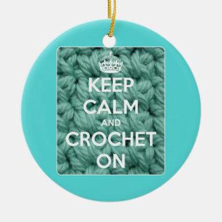 Keep Calm and Crochet On Blue Ceramic Ornament