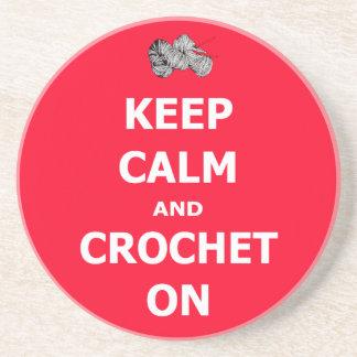 Keep calm and crochet on coaster