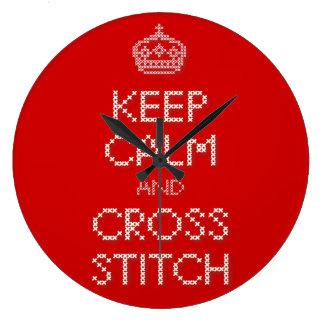 Keep Calm and Cross Stitch Large Clock