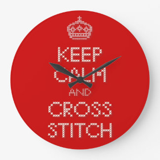 Keep Calm and Cross Stitch Wall Clock